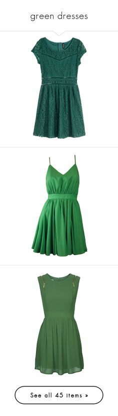 """""""green dresses"""" by lulucosby ❤ liked on Polyvore featuring dresses, green short sleeve dress, short-sleeve dresses, lace cocktail dresses, h&m cocktail dresses, skater skirts, vestidos, short dresses, robe and open back mini dress"""