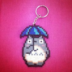 Studio Ghibli - otoro & Umbrella  keyring hama mini beads by Worldof8bitCraft