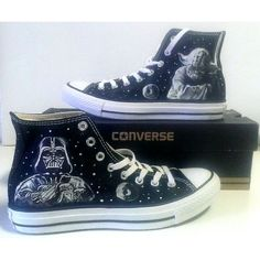 Star Wars Yoda Vader Fanart Painted Converse All Star Hi Tops M+W+Y... ($135) ❤ liked on Polyvore featuring shoes, sneakers, hi tops, plimsoll sneaker, converse sneakers, black sneakers and black canvas sneakers