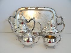 Gorgeous Oneida Georgian Scroll Silver Plate Six Piece Tea and Coffee Set with Tray - Classic Elegance - Tea Set with Tray - Coffee Set Tray by SecondWindShop on Etsy