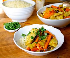 Curried chicken with couscous and cilantro