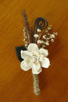 Boutonniere Sola Wood Boutonniere Rustic by TheBloomingCorner