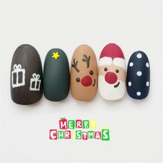 30 Adorable Christmas Nails For The Loveliest Girls In The World The above nails contain many elements: Christmas trees, dears, stars, socks, snow and Santa Claus. Pick one of your favorite and go to have it. Nail Art Noel, Xmas Nail Art, Cute Christmas Nails, Xmas Nails, Christmas Nail Art Designs, Winter Nail Art, Holiday Nails, Winter Nails, Halloween Nails