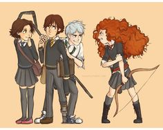 by hyouta - Rapunzel (Tangled), Hiccup (How to Train Your Dragon), Jack (Rise of the Guardians), and Merida (Brave) as Hogwarts students. Love it!