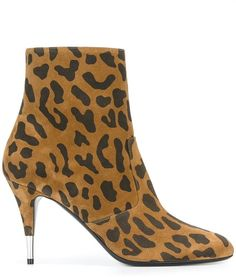 Saint Laurent 'Anita 85' zipped ankle boots - Brown calf leather 'Anita 85' zipped ankle boots from Saint Laurent featuring an almond toe, a leopard print, a side zip fastening, an ankle length, a mid high stiletto heel and a metallic heel cap.