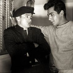 James Dean with his buddy Perry Lopez , 1955