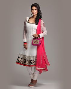 Cream colour Net Anarkali with embroidered border  Rs.7,980