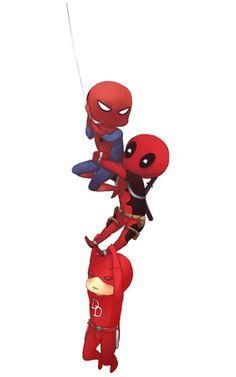 Spider-man, Deadpool and Daredevil
