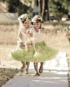 Whimsical tutus, fresh flower wreaths, and baskets of flower petals create quite an entrance!