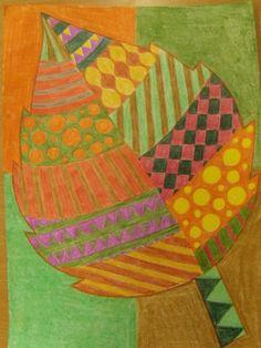 Podzimní listy - kresba pastelkami
