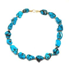 Natural Blue Turquoise Necklace | Only available at Peyton William. www.peytonwilliam.com