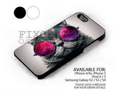 Cat With Galaxy Glasses case for iPhone 4/4S/5 iPod 4/5 Galaxy S2/S3/S4