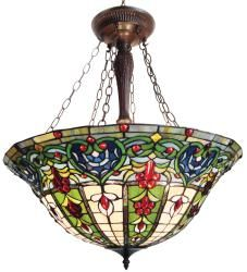 @Overstock.com - Tiffany-style Victorian Bronze Finish Hanging Lamp - Fixture features colorful hand-blown art glass in a classic Tiffany-inspired designCeiling lamp will dress up any room in your home or officeTiffany lamp requires three 60-watt medium base light bulbs  http://www.overstock.com/Home-Garden/Tiffany-style-Victorian-Bronze-Finish-Hanging-Lamp/3411434/product.html?CID=214117 $232.99