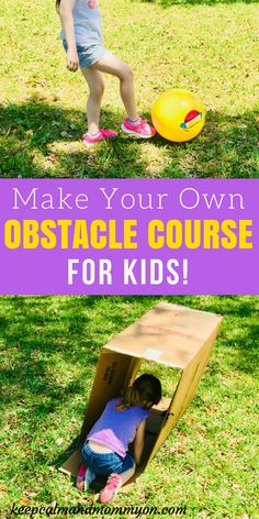 Make Your Own Obstacle Course For Kids! Summer Activities For kids, Outdoor Activities for Kids, Gross Motor Skills,