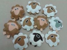 Recuerditos para el Baby Shower ovejas de fieltro