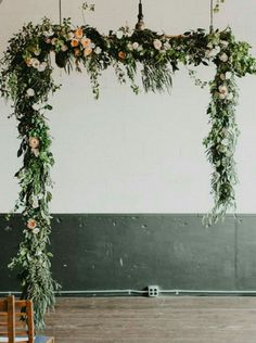 20 Creative Greenery Wedding Arches with Garland Modern industrial hanging greenery garland wedding backdrop Wedding Arch Flowers, Wedding Ceremony Backdrop, Ceremony Arch, Ceremony Decorations, Floral Wedding, Wedding Garlands, Trendy Wedding, Wedding Arches, Elegant Wedding
