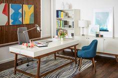 West Elm Desk Office Spaces, Office Workspace, Modern Office Decor, Modern  Offices,