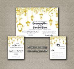 DIY Printable Wedding Invitation PDF Set - Wedding Lanterns in Golden Yellow (7X5 Invitation Set) on Etsy