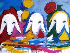 3 sheep heads painting by famed Israeli artist Menashe Kadishman. Love it. Want it.