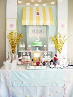 Pin for Later: This Ice Cream Parlor Birthday Will Melt Your Heart 3rd Birthday Party For Girls, Sundae Bar, Ice Cream Parlor, Icecream Bar, Baby Shower Fun, Gender Reveal, Party Ideas, Parenting Tips, Bridal Shower
