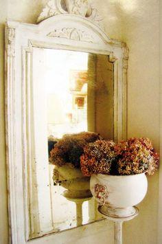 Shabby Chic Mirror, and Hydrangeas.