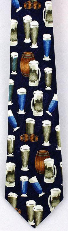 New Foamy Beer Glasses Mens Necktie Mug Bar Pub Blue Novelty Restaurant Neck Tie #Fratello #NeckTie