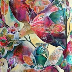 Ms. Alena Hennessy mixed media bird art painting blog