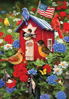 Custom Decor Flag - Patriotic Birdhouses Decorative Flag at Garden House Flags at GardenHouseFlags