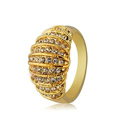New Design Gold Finger Ring For Women 18K Gold Plated Austrian Crystal Fashion Jewelry 1253003300290 *10 -- Be sure to check out this awesome product.