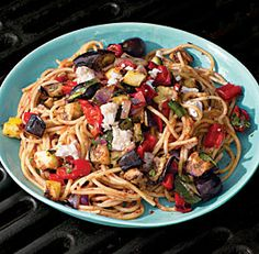 Spaghetti with Grilled Ratatouille--Grilled vegetables—that summer side dish staple—easily become a satisfying main course when turned into a vibrant sauce for spaghetti. Via FineCooking