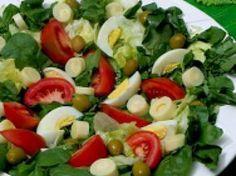 Receita Entrada : Salada de agrião, tomate, ovo cozido, palmito, azeitonas (ovo-lacto) de Cantinho Vegetariano