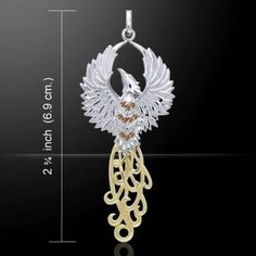 PHOENIX Rising Pendant .925 Sterling Silver 18K gold vermeil Solar FIRE BIRD