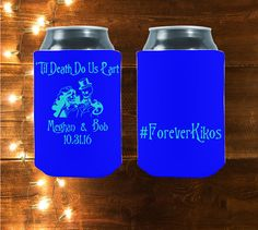 Marriage vows are promises each partner in a couple makes to the other ... for worse, for richer, for poorer, in sickness and in health, until death do us part.  Our koozies are perfect for your big day!   Customized Til Death Do Us Part   Perfect Wedding by StripedPeanut