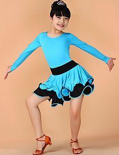 e5f86a104ee1 Latin Dans Kjoler Børne Ydeevne Nylon Draperet 1 Stykke Kort Ærme Naturlig  Kjoler XS 52