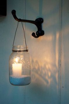 rustic candle sconce idea