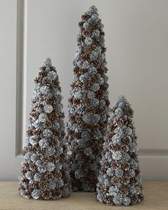 Mixed Shimmer Pine Cone Christmas Trees Topiary By Salzburg Creations At Neiman Marcus