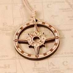 Compass Rose Pendant - Compass Rose Necklace - Compass Pendant - Compass Necklace - Wood Pendant - Wood Necklace