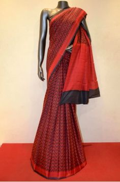 Red With Black Classic Printed Pure Silk Saree         Product Code: AA211529