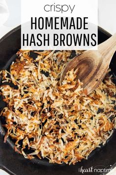 These homemade hash browns are perfectly crispy on the outside and fluffy on the inside. #hashbrowns #potatoes #potatorecipes #breakfast #breakfastrecipes #brunch #brunchrecipes #breakfastandbrunch #side #breakfastside #recipes #iheartnaptime