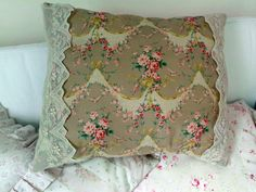 Romantic Pillow with lace garlands roses and birds.