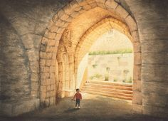 From Akko, Israel - Watercolor on cold-pressed paper, 12 x 16   It was 1996. The Ottoman-era streets of Old Akko looked charming as sunlight dappled upon shop awnings. The Knights of St. John had built this massive underground complex here in the eleventh century A.D.  My son's movements caught my eye. With only his little plastic shark for protection, he seemed overwhelmed by the place.  I painted in the brilliance of light through several watercolor washes on cold-pressed paper.