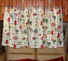 1960u0027s CURTAINS Retro Vintage KITCHEN Decor 4 Panels