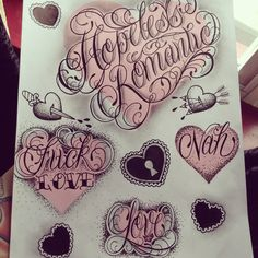 """dollbabytattoos: """"Finally finished this sheet of hearts and script! Follow me on Instagram to see more of my art and tattoos! @shelbygolobtattoo """" My Instagram name is now @dollbabytattoos"""