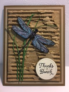 Dragonfly Dreams, Beautiful Bouquet, Thank You Card, Torn Cardboard Technique - - Years ago I saw card that used torn corrugated cardboard on the background. I think that technique may be coming back. I saw this card on. Handmade Stamps, Greeting Cards Handmade, Karten Diy, Get Well Cards, Butterfly Cards, Pretty Cards, Card Sketches, Sympathy Cards, Masculine Cards