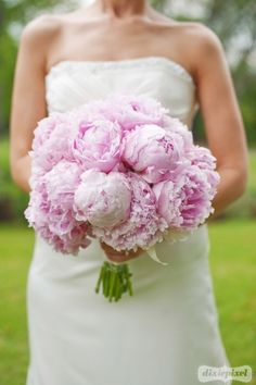 bridal bouquet of pale pink peonies