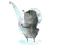Shower Pug Art Print - Black Pug Bathroom Art, Cute Bath Time Pug Painting from an Ink and Watercolor by InkPug!