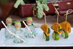 mini taquila bottles & tacos