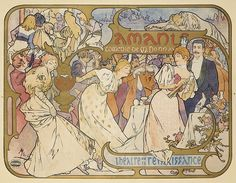 "Artist: ALPHONSE MUCHA (1860-1939) Size: 53 1/2 x 41 in./136 x 104 cm Affiches Camis, Paris  This ""comedy by Maurice Donnay, starred Maurice Granier and Lucien Guitry, and premiered on November 5, 1895. There is very rich ornamentation ..which adroitly divides it into three scenes and thereby harmonizes elements which might otherwise appear quite busy: there is a Punch-and-Judy show in the upper left, a tragic commentary in the upper right, and the entire bottom section is given to the ..."