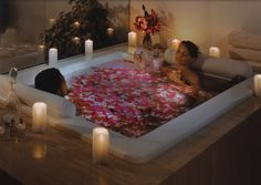 Tub deep enough to cover the boobs and the knees at the same time and long/wide enough to sprawl out in? Can I please have one? I don't even want the rose petals and the guy, you can keep them all to yourself if you just hand over the tub!