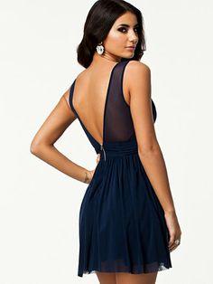 Trim Cross Front Dress - Elise Ryan - Navy - Party Dresses - Clothing - Women - Nelly.com